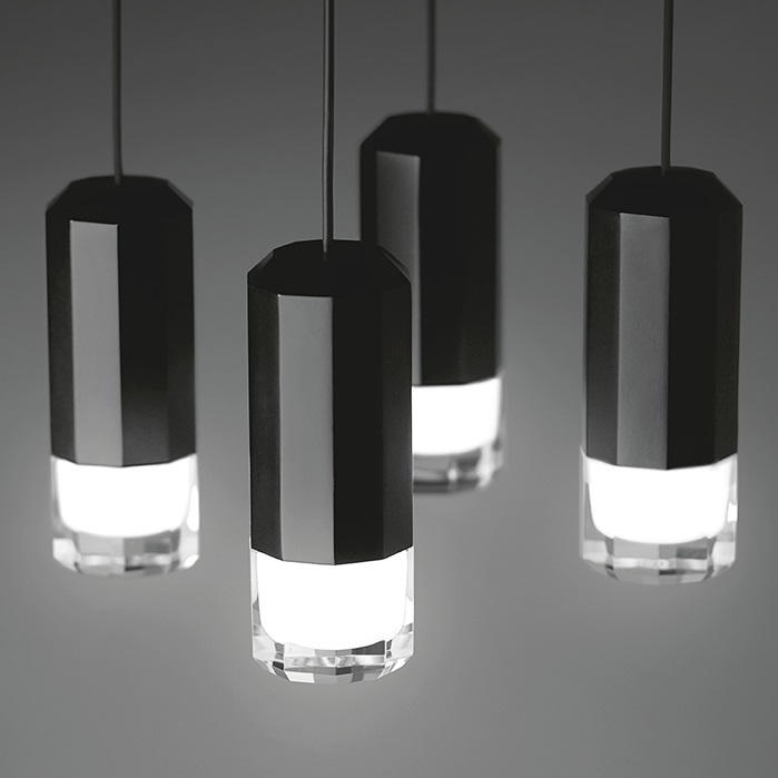 Wireflow FreeForm Pendant Lamp 200cm 2xLED 4,5W dimmable (con Diffuser of vidrio) - Lacquered Black
