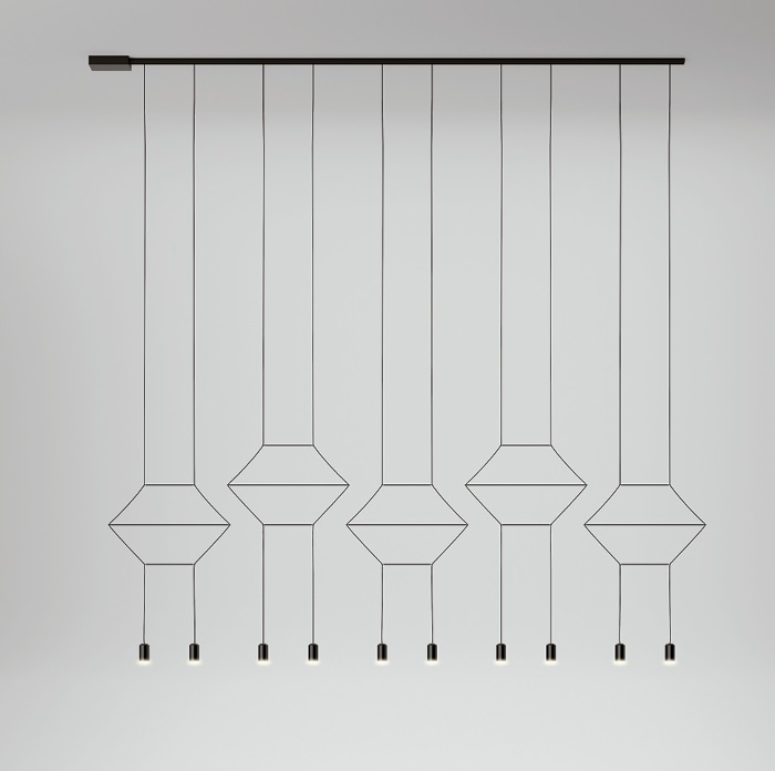 Wireflow linear Pendant Lamp 200cm 10xLED 4,5W dimmable (disposición B) - Lacquered Black