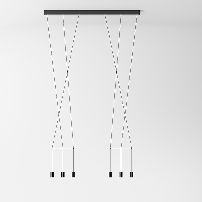Wireflow linear Pendant Lamp 250cm 6xLED 4,5W dimmable - Lacquered Black