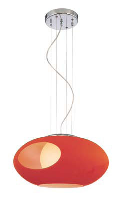 Pendant Lamps 3 Pendant Lamp Chrome/Rojo