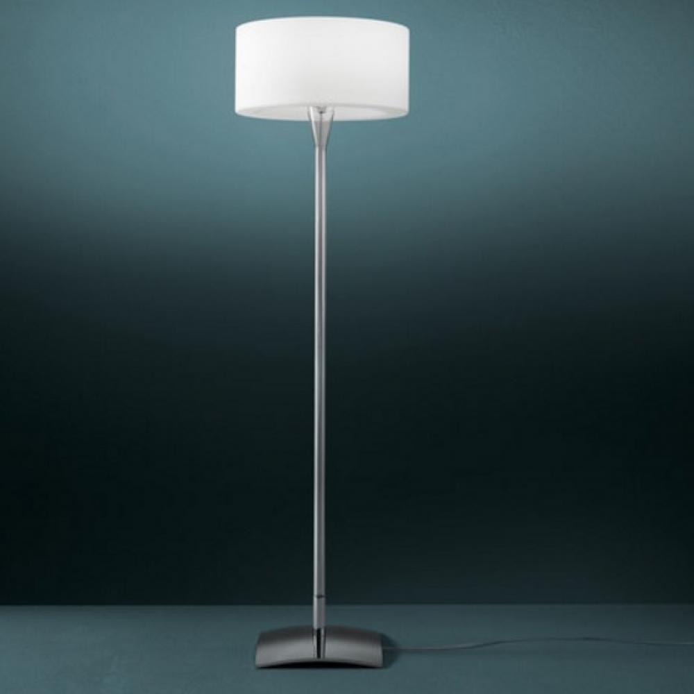 Fontana Arte Drum Floor Lamp Glass White 48x48x175cm 3681