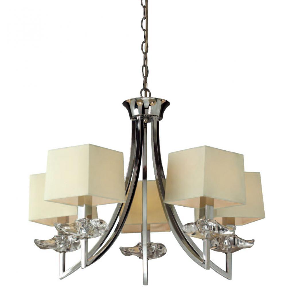 Amity 5l Pendant Brushed Chrome: Mantra Akira Pendant Lamp Chrome/Cream 5L 0932