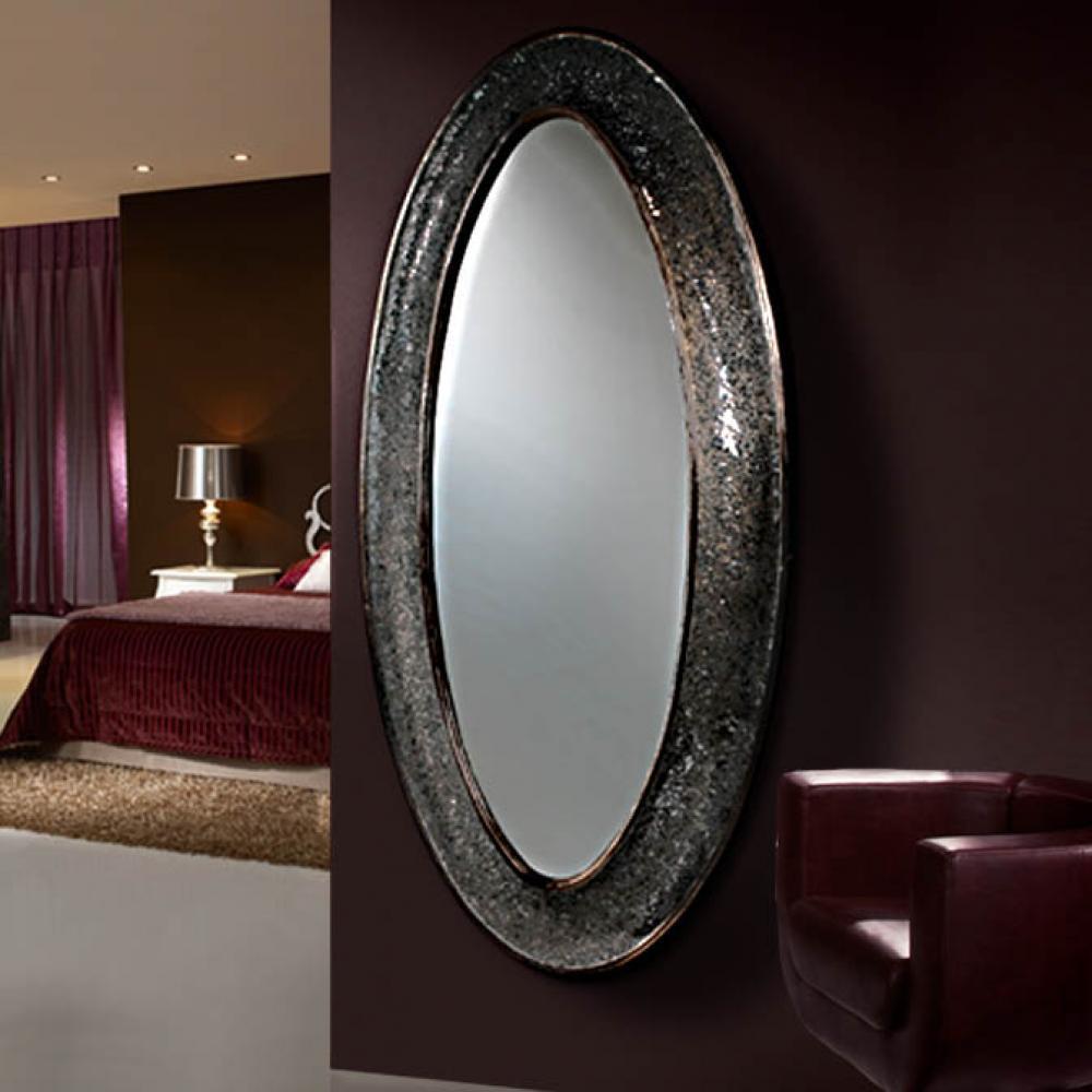 Schuller gaudi espejo ovalado vestidor negro 131322 for Espejo ovalado de pie