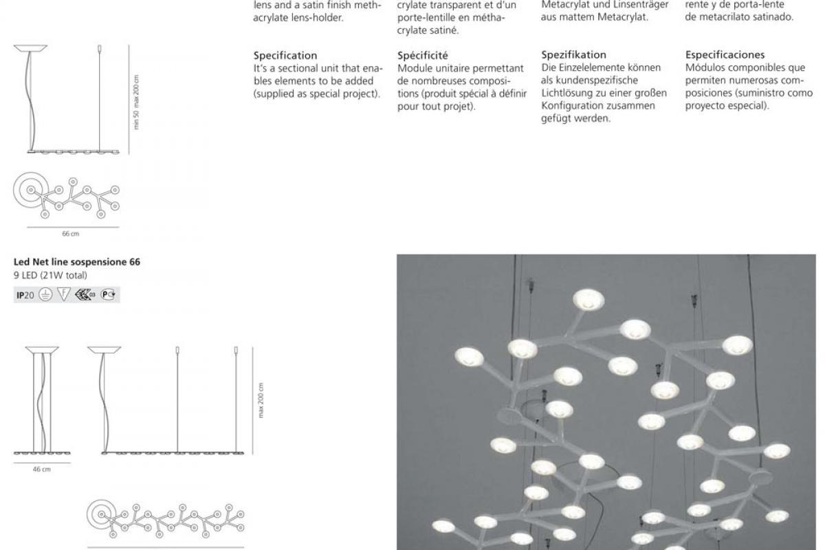 Artemide led net lampada a sospensione lineare 1578010a for Lampada alogena lineare led