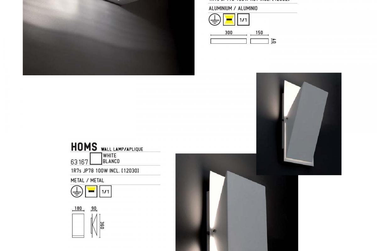 Faro utah applique led 1xr7s 100w grigio 63196 lámparas de diseño