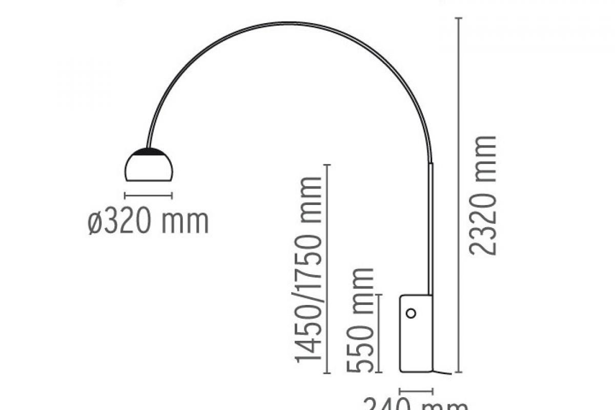 Arco Floor lamp LED Multichip 28w with dimmer ChromeMarble