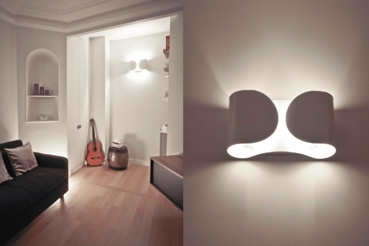 Two foglio wall lamps by tobia scarpa for flos chromed lacquered