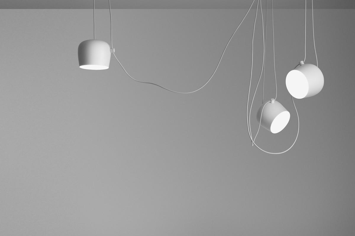 Más Suspension Lampe Small Blanc Aim Câble Bouchon 34jL5AR
