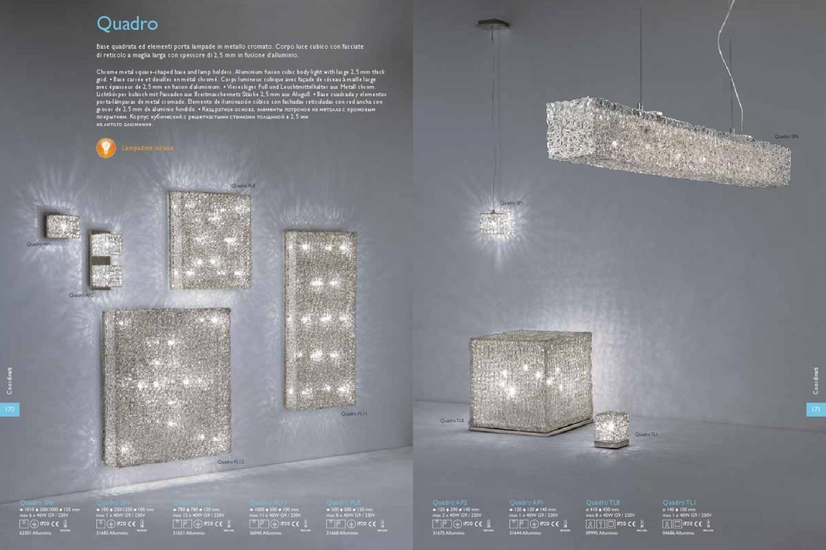 Ideal lux quadro applique ap xg w alluminio lámparas