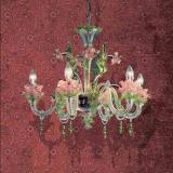 701 L6 lampe Suspension Verre rose Vert Or/Oro