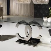 Calima mesa de comedor rectangular 200cm acero/Cristal
