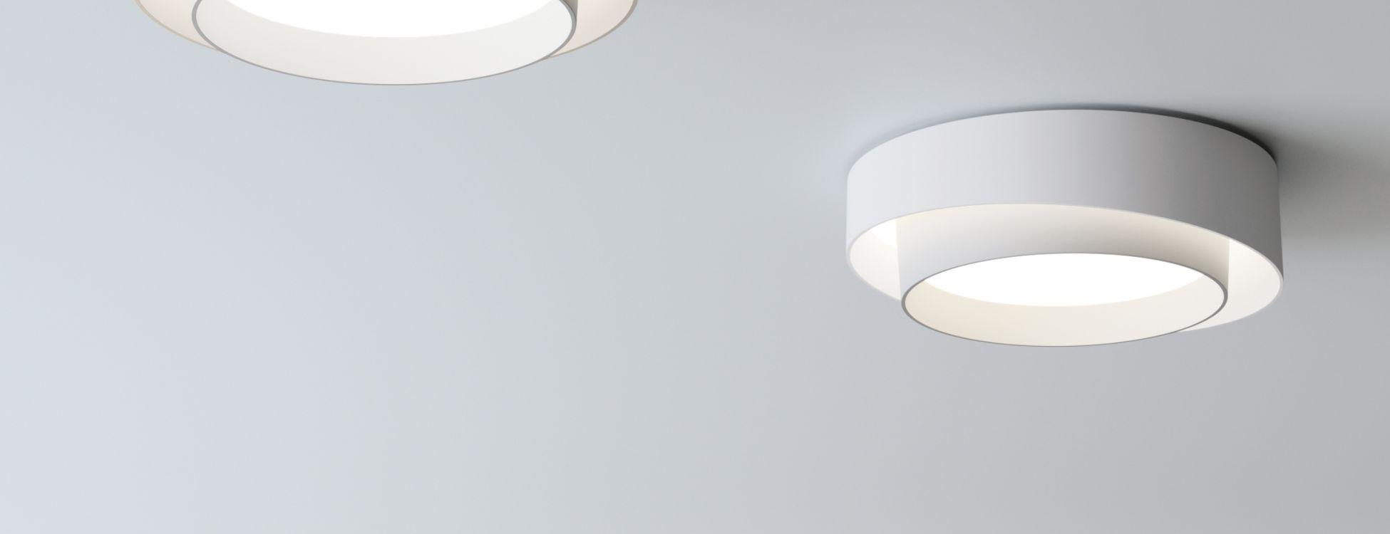 Centric soffito ø32cm (6cm) 1xLED 15,2W + 2xLED 4W dimmable - Laccato bianco opaco