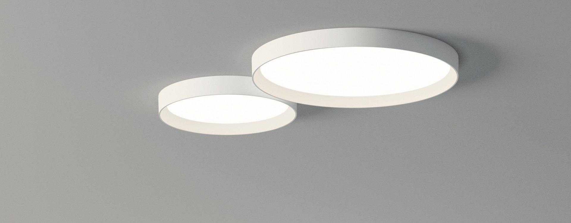 Up lâmpada do teto pequeño 1 x prato LED 30w - Lacado branco fosco