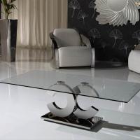 Calima mesa de centro rectangular acero/Cristal