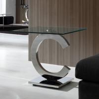 Calima mesa de rincón cuadrada 60cm acero/Cristal