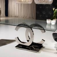 Calima mesa de salón rectangular 180cm acero/Cris