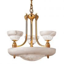 Emporium Lámpara Oro/Patine rojizo Alabastro blanco