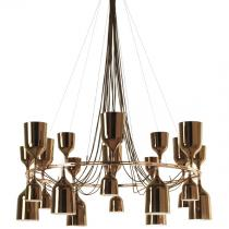 Copacabana Queen 12 Pendant Lamp E27 24x18w porcelain Gold