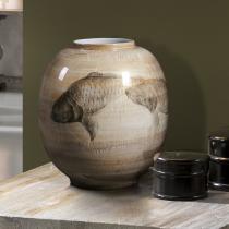 Koi Jarrón de cerámica pintada y decorado a mano