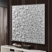 Hojas Cuadro 90x90x9cm - Pintura blanca