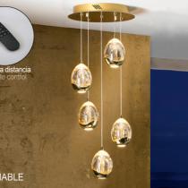 Rocío Lámpara colgante 5L 25W LED ø30x45cm - Dorado y