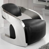 Amanda sillón negro piel italiana