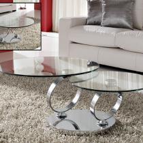 Aros mesa de centro articulada Cromo/Cristal