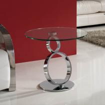Aros corner table Chrome/Glass