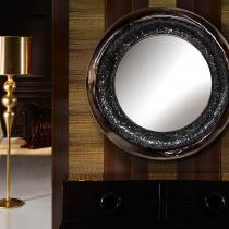 Gaudi espejo Redondo negro perla