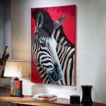 Cebra en Rojo Cuadro 90x140cm Pintura acrílica