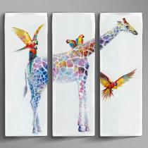 Jirafas Tríptico 225x220cm Pintura acrílica