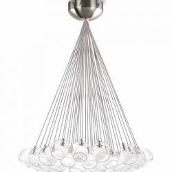 Double Lámpara Colgante 37 G4 37x10W Cristales bola Níquel mate