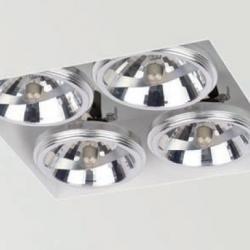 Arkos Trimless 4 incasso quadratto 25,8cm QR-111 G53 4x75w nero opaco