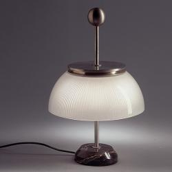 Alfa Table lamp base marmol/estructura metal Nickel/Diffuser Glass E14
