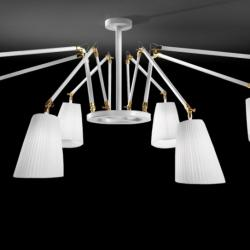 Cornelia - 02 (Solo Structure) Lamp Pendant Lamp without lampshades E27 8x46w white - Latón Pulido