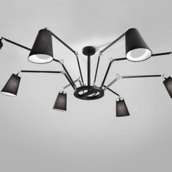 Cornelia - 02 (Solo Structure) Lamp Pendant Lamp without lampshades E27 8x46w Black - Latón Pulido