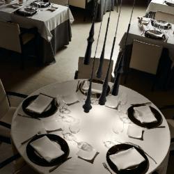 Slend - Set 6 Lámpara Colgante LED 6w Aluminio pulido - Caja blanca - cable Transparente