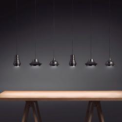Tibeta - Set 3 Lamp Pendant Lamp LED 30,4w Chrome Black cable textile Black