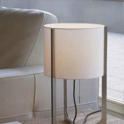 Nirvana Lâmpada de mesa ø32cm níquel Mate abajur branco