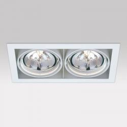 Grid IN 2 QR Frames Recessed 2xG53 100w Aluminium Black