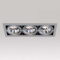 Grid IN 3 QR Frames Recessed 3xG53 100w Aluminium Black
