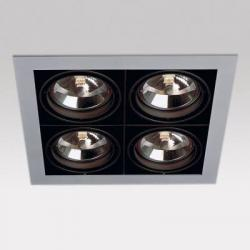Grid IN 4 QR Frames Recessed 4xG53 100w Aluminium Black