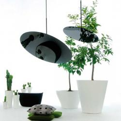 Hanging Hoop 80 Pendant Lamp circular T5 1x40W black with floron Black