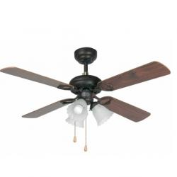 Lisboa Fan with light 4 blades ø106cm 3 x E27 60W Mahogany and Dark Walnut
