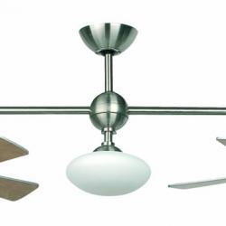 Paros Fan Doble with light níquel Matt 2xø 56cm