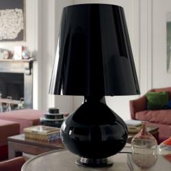 1853 Fontana Total Black Table Lamp 32cmx53cm E27 + 2xE14 Black
