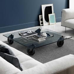Tavolo table with wheels square Glass float 100x100x25