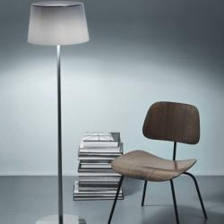 Lumiere XXL Floor Lamp - Structure Chrome Black/lampshade white
