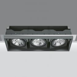 Deep Minimal Recessed adjustable of 3 bodies ópticos 2x35/70W HIT (C dimmable T) + 75W 12 V QR-111