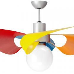 Vento Luce Eco Fan with light ø105cm 3 blades white Satin methacrylate Transparent